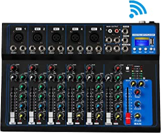 Depusheng 7 canales USB Micrófono digital Consola mezcladora de sonido 48V Phantom Power Amplificador profesional de mezclador de audio Karaoke con Bluetooth