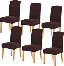 Stretch Dining Room Chair Slipcovers Spandex Fabric Removable Washable Chair Protector Cover for Dining Room, Hotel, Ceremony, Wedding, Party (Chocolate Knit, 6 Per Set)
