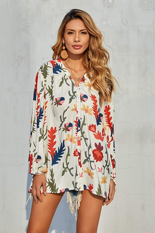 Tazaiy Women Colorful Chiffon Blouse & Button-Down Shirts 3/4 Balloon Sleeve Loose Pom Pom Flowy Boho Tops