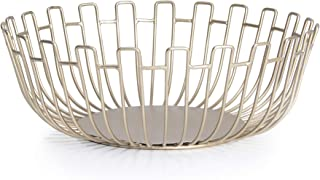 Conina Round Gold Fruit Bowl Large Metal Wire Fruit Baskets for Counter Top ,Modern Home Decorative,Sunflower Shape 10.8inch