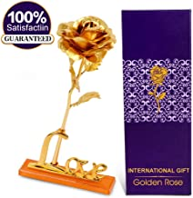International Gift Gold Rose 25 Cm Gift Box And Carry (25 Cm, Gold)