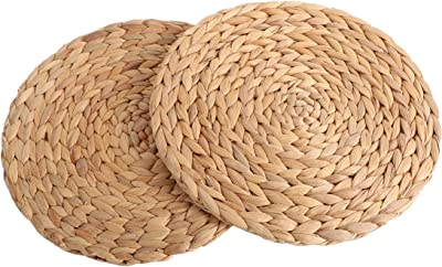 kilofly Natural Water Hyacinth Weave Placemat Round Braided Rattan Tablemats 14.5 inch x 2pc