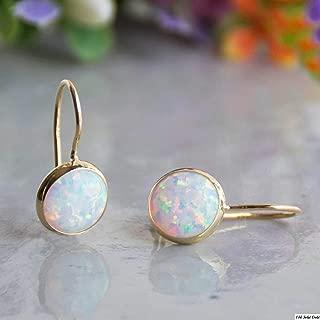 14k Solid Yellow Gold White Opal 8mm Gemstone Dangle Earrings, Dainty Opal Gemstones Earrings, Bridal Handmade Wedding Jewelry Gift for Brides, Graduation Gift