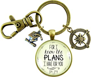 Graduate Gift For I Know the Plans I Have Jeremiah 29 11 Glass Keyring Christian Jewelry Compass Graduation Tassel Cap Charm
