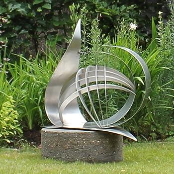 Synergy Stainless Steel Garden Sculpture Contemporary Art Amazon Co Uk Garden Outdoors