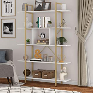 Tribesigns Bookshelf, 5-Tier Industrial Bookcase, Open Leaning Storage Rack for Corner, Living Room, Office, 105x29.5x180c...