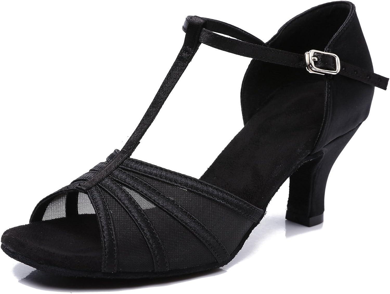 CLEECLI Women's Ballroom Dance shoes Latin Salsa Dance shoes T-Strap Sandals ZB01