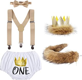 Baby Boys Lion 1st/2nd Birthday Cake Smash Outfits Wild One Shorts + Bowtie + Tail + Crown Party Photography Costume