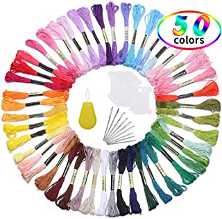 Embroidery Thread for Friendship Bracelet String, Rainbow Color Embroidery Floss Cross Stitch Kits with 10pcs Floss Bobbins and 9pcs Needles, 1 Pcs Needle Threader