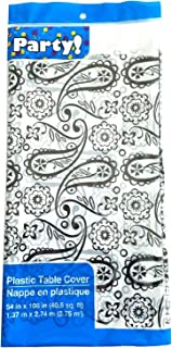 Party Creative Converting Plastic Table Covers - Black Paisley