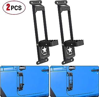 Nilight Door Hinge Steps - Metal Foldable Foot Pegs Exterior Car Accessories for 2007-2018 Jeep Wrangler JK JKU & 2018-202...