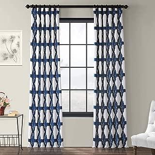 PRTW-D22D-108 Sorong Printed Cotton Curtain, Royal, 50 x 108