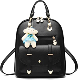 BAG WIZARD Women Backpack Purse Smooth Leather Solid Color with Cute Bear Pendant Pack Bag