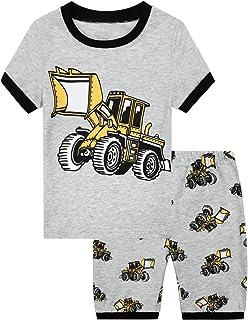 MIXIDON Pijamas Dos Piezas para Niño de Verano de Manga Corta 100% Algodón, Regalos de Pijamas de Dinosaurio para Niño, Ro...