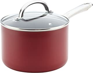 Farberware 22014 Buena Cocina Nonstick Sauce Pan/Saucepan with Lid, 3 Quart, Red