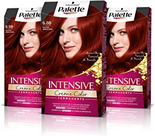Palette Intense Cream Coloration Intensive Coloración del Cabello 6.88 Rojo Rubí - Pack de 3