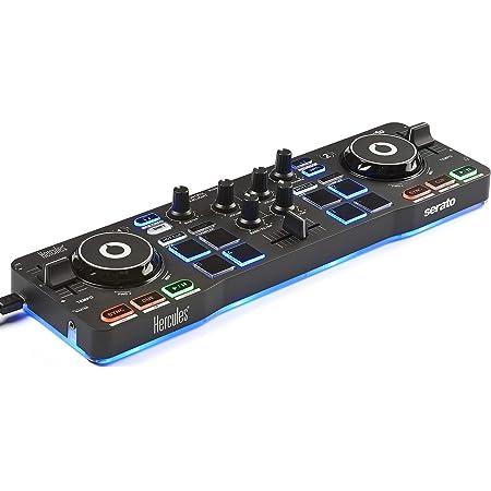 Hercules DJ DJControl Starlight | Pocket USB DJ Controller with Serato DJ Lite, Touch-Sensitive Jog Wheels, Built-in Sound Card and Built-in Light Show