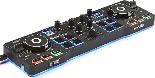 Hercules DJ DJControl Starlight | Pocket USB DJ Controller with Serato DJ Lite, Touch-Sensitive Jog Wheels, Built-in ...