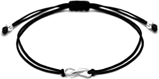 Black Thread Friendship Support Bracelet, Small Handmade Sterling Silver Ribbon Shaped Charm, Awareness for Skin Cancer Melanoma UV Safety, Sleep Apnea, Mourning, POW MIA. Adjustable Cord
