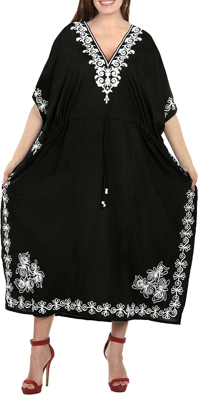 LA LEELA Women's Maxi Kaftan Cover Ups Beach Evening Party Dress Solid Plain