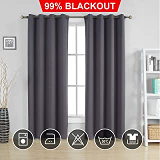 Moonen 99% Blackout Curtain for Bedroom Thermal Insulated Noise Proof Microfiber Heavy Silky Textured Darkening Grommet Top Drapes (2 Panels Set, Grey, 52x84 Inches)