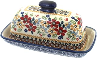 polish pottery traditional covered butter dish