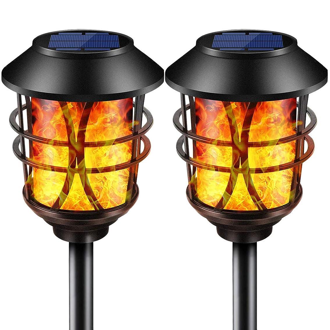 死にかけているプレート任命するSOLARMKS ソーラーライト,金属のちらつき火炎ガーデンライト、96電球内蔵, 屋外用 庭の パティオ IP65防水 電池不要 省エネ 自動点灯消灯, 2個セット