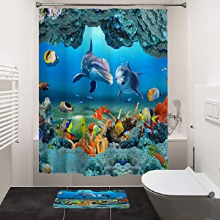 HIYOO Bathroom Decorative Polyester Fabric Waterproof Shower Curtain, Ocean Underwater Seabed Coral Happy Dolphins Fish Theme Design, High-Definition Image,with Hooks 72