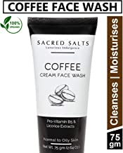 Sacred Salts Coffee Cream Face Wash|Deep Cleansing|100% Organic Natural Foaming Face Wash for Men & Women, Brown, 100 g