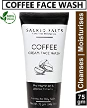 Sacred Salts Coffee Cream Face Wash Deep Cleansing 100% Organic Natural Foaming Face Wash for Men & Women, Brown, 75 g