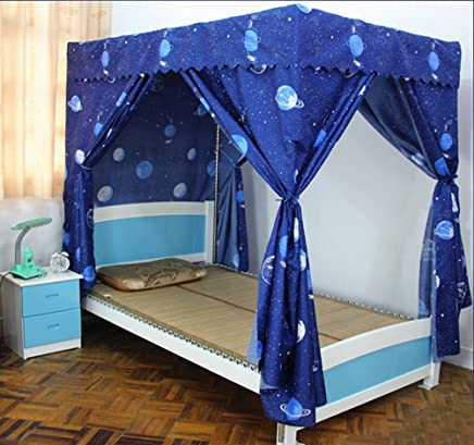 Mengersi Galaxy Star Four Corner Post Bed Curtain Canopy Mosquito Net for Boys Kids (Queen,  Navy)