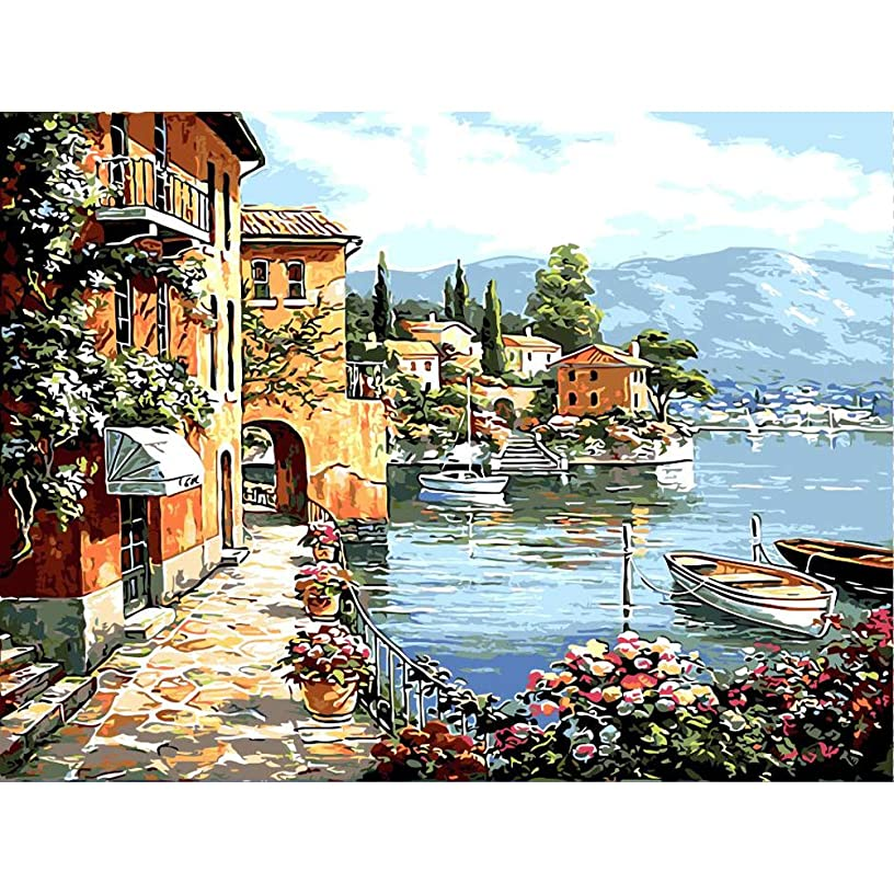 Easy Paint by Numbers for Adults Landscape Kit Acrylic Painting by Numbers Haven for Beginner (Harbour)