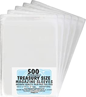 100 MASPTRRS Treasury Size Resealable Magazine Comic Sleeves Outer Bags Covers