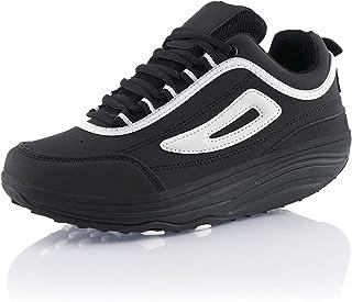 Fusskleidung® Damen Herren Sneaker Abrollsohle Sportschuhe leichte Gesundheitsschuhe Schwarz Schwarz EU 42