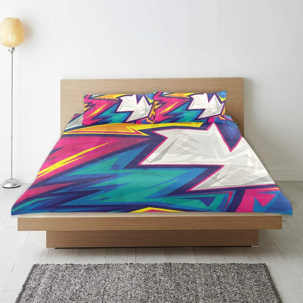 MISCERY Duvet Cover Sheet Set Geometric Gifts Colorful Soldering Abstract Patter