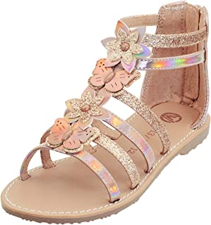 Vonair Girls Gladiator Sandals Cute Open Toe Breathable Summer Shoes with Rubber Sole (Little Kid/Big Kid)