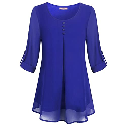 0d9220a2712982 Cestyle Women's Roll-up Long Sleeve Round Neck Layered Chiffon Flowy Blouse  Top