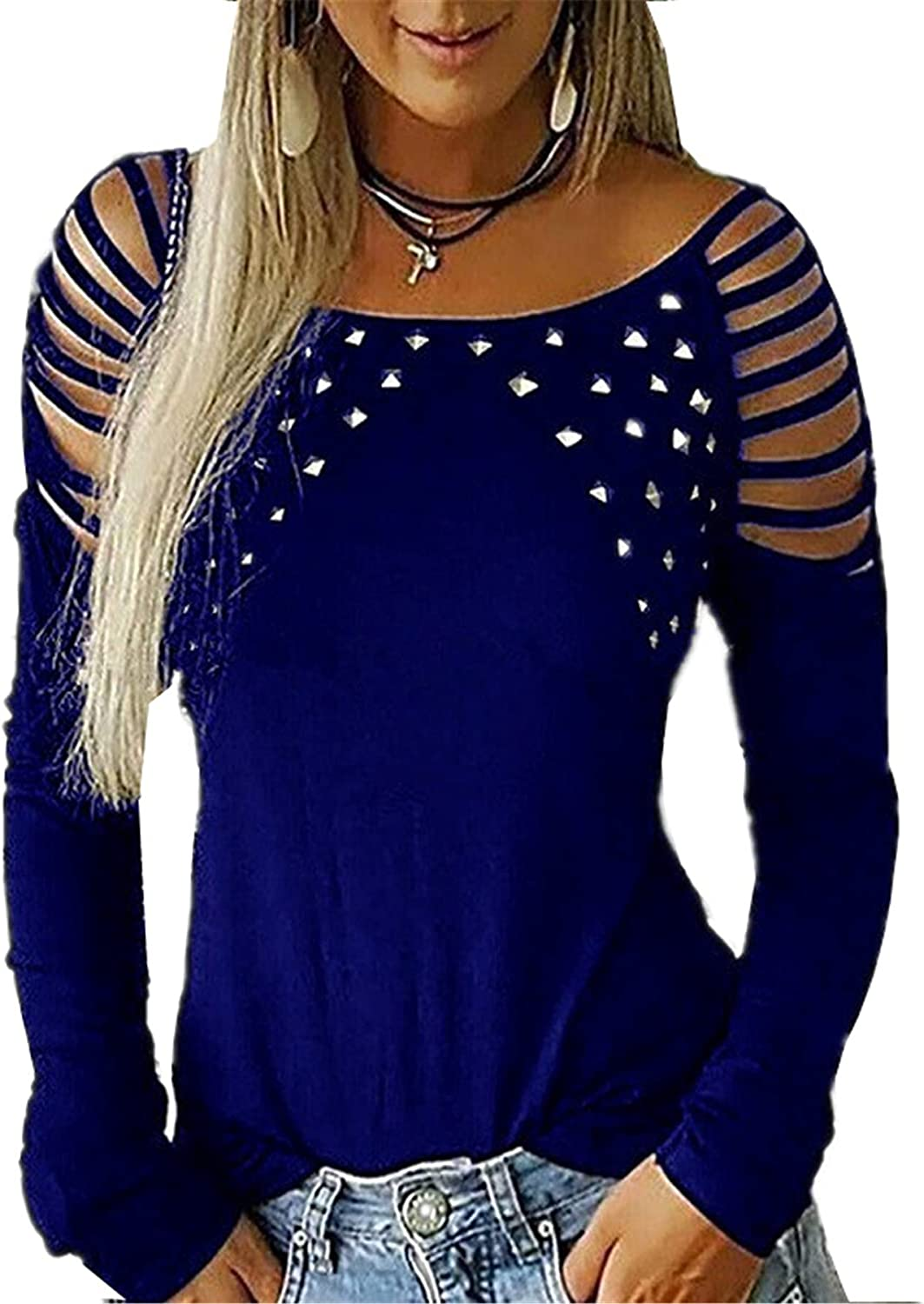 Andongnywell Women's Hollow-Out Cold Shoulder Sexy 2021new shipping free Rhinestone Under blast sales Sl