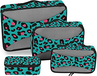 Leopard Pink Green Packing Cubes 4-Pcs Travel Organizer Accessories Storage Bag with Toiletry Bags