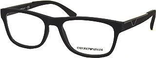 Armani EA3082 Eyeglass Frames 5063-53 - Black Rubber EA3082-5063-53