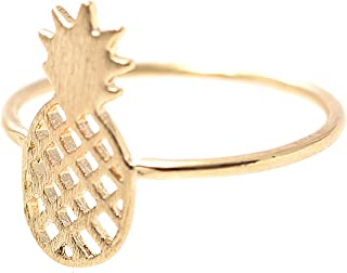 SpinningDaisy Handcrafted Brushed Metal Pineapple Fruit Ring Gold