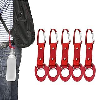 LERTREE 5 Pack Water Bottle Holder Hook Clip with Key Ring Aluminum Carabiner Belt Backpack Hanger