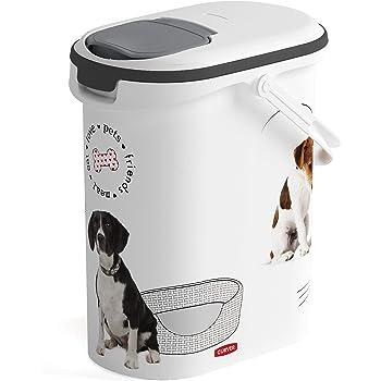 CURVER 241103 - Contenedor para Pienso 4 Kg/ 10 L, 19 x 29 x 34 cm, Blanco: Amazon.es: Productos para mascotas
