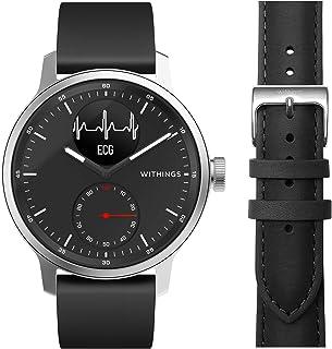 Withings Scanwatch 42mm Noir Lot avec 1 Bracelet Noir FKM 20 mm + 1 Bracelet en Cuir Marron 20mm - Montre Connectée Hybrid...