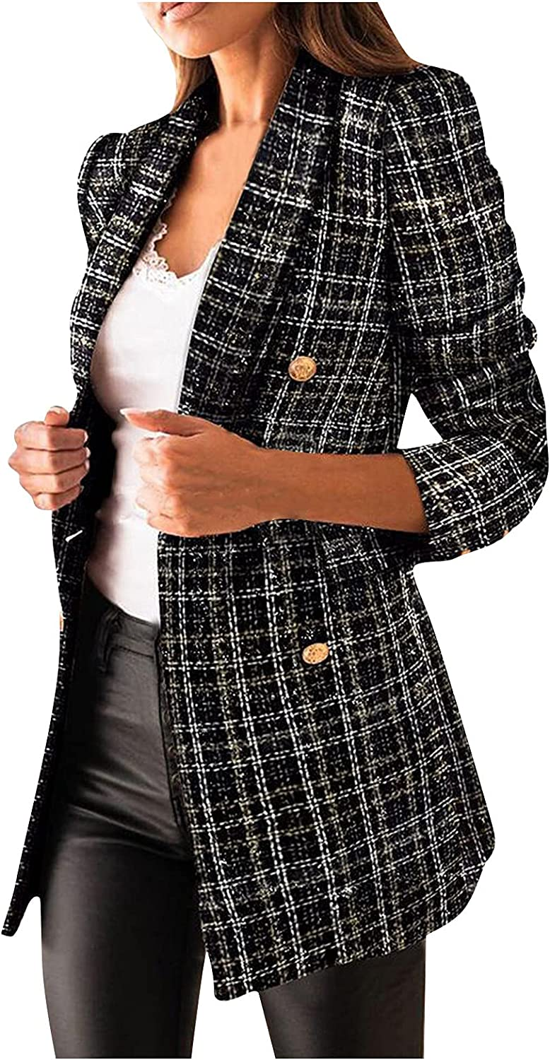 Womens Double Breasted Blazer Jacket Open Lowest price challenge Oakland Mall Printing Lapel Notch F