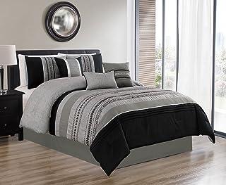 JBFF 7 Piece Oversized Luxury Embroidery Bed in Bag Microfiber Comforter Set (Black, Queen)