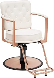 BarberPub Vintage Salon Chair Hydraulic Beauty Spa Styling Equipment 3076 (White)