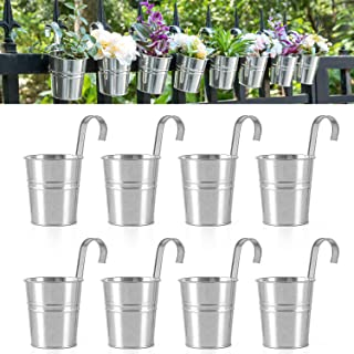 Dahey 8 Pcs Hanging Flower Pots Metal Iron Bucket Planter for Railing Fence Balcony Garden Home Decoration Flower Holders ...