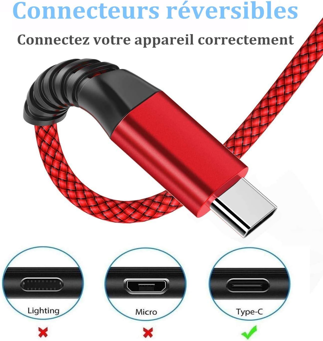 -Chargeur Type C Cable 3A Charge Rapide Cordon Solides Nylon Tress/é pour Samsung GalaxyS21 S20fe S8 S9 S10 A51 A70 A90 Note Huawei P40 P30 P20,Xiaomi Redmi C/âble USB C 2M,Lot de 2 Sony Xperia-Rouge