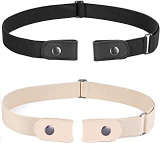 No Buckle Belt for Women and Men Buckle Free Belt Plus Size for Jeans Pants 2 Pack